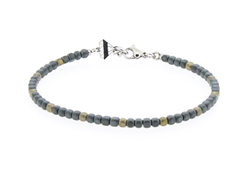 Stainless steel bracelet with natural Hematite stones gold and grey
