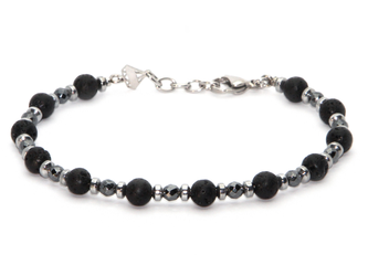 Stainless steel bracelet with natural Hematite and Lava stones