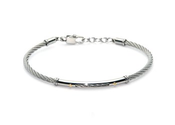Cable bracelet in stainless steel and 18kt gold (gr 0.04)