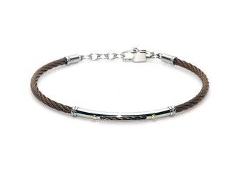 Cable bracelet in brown PVD stainless steel and gold 18kt (gr 0.04)