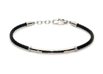Cable bracelet in black PVD stainless steel and gold 18kt (gr 0.04)
