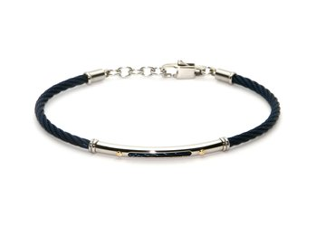 Cable bracelet in blue PVD stainless steel and gold 18kt (gr 0.04)