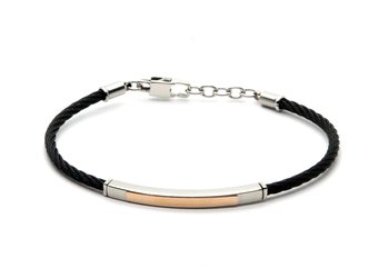 Stainless steel cable bracelet in black PVD and 18 kt rose gold plate (gr 0.20)