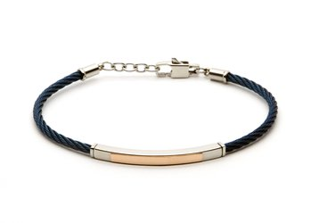 Stainless steel cable bracelet in blue PVD and 18 kt rose gold plate (gr 0.20)