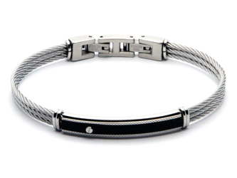 Stainless steel cable bracelet and black PVD plate with steel screw