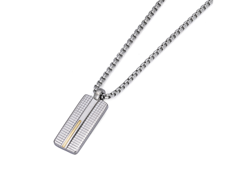 Necklace with pendant in stainless steel and 18kt gold (gr 0.04)