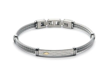 Stainless steel cable bracelet with plate and 18kt gold (gr 0.04)
