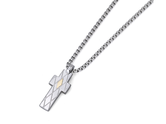 Necklace with cross pendant in stainless steel and 18kt gold (gr 0.04)