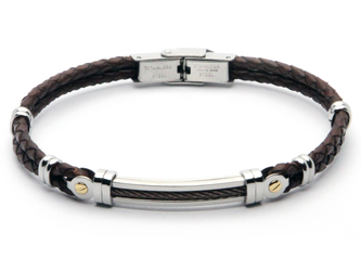 Stainless steel and brown leather bracelet with PVD steel cable and 18kt gold (gr 0.06)