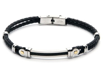 Stainless steel and black leather bracelet with PVD steel cable and 18kt gold (gr 0.06)