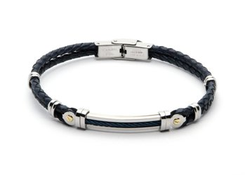 Stainless steel and blue leather bracelet with PVD steel cable and 18kt gold (gr 0.06)