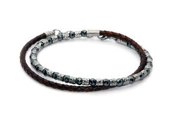 Bracelet in stainless steel and natural Hematite stones with brown braided leather