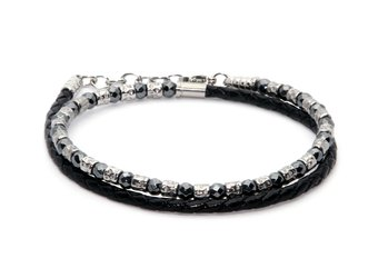 Bracelet in stainless steel and natural Hematite stones with black braided leather