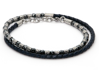 Bracelet in stainless steel and natural Hematite stones with blue braided leather
