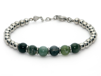 Stainless steel bracelet and natural Musk Agate stones