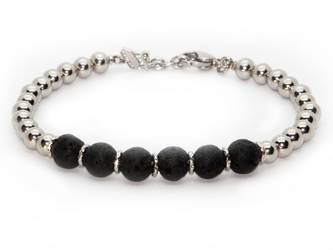 Stainless steel bracelet and natural Lava stones