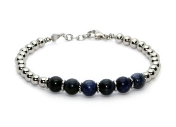 Stainless steel bracelet and natural Sodalite stones