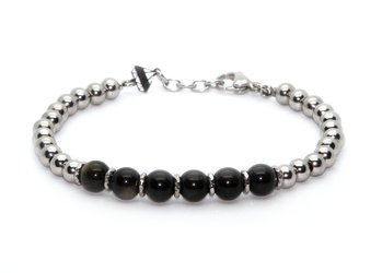 Stainless steel bracelet and natural Obsidian Gold stones