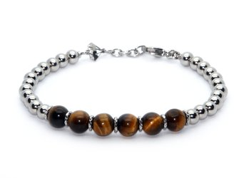 Stainless steel bracelet and natural Tiger eye stones