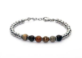 Stainless steel bracelet and natural Arctic Jasper stones