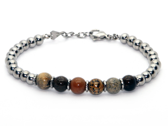 Stainless steel bracelet and natural Arctic Jasper stones