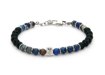 Stainless steel bracelet and natural Agate and Lava stones
