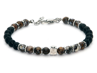 Stainless steel bracelet and natural Diaspro and Lava stones