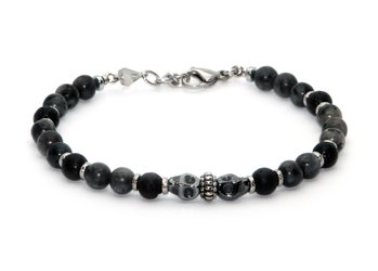 Stainless steel bracelet and natural Labradorite and Lava stones