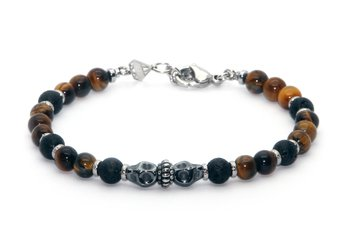 Stainless steel bracelet and natural Tiger Eye and Lava  stones