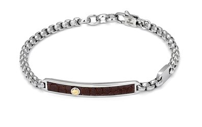 Bracelet with stainless steel chain and leather with brown Texture and gold screw (gr. 0.03)