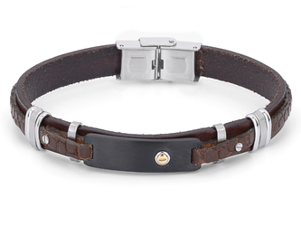 Stainless steel and leather bracelet with brown Texture and gold screw (gr. 0.03)
