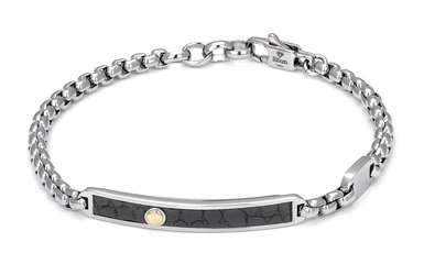 Bracelet with stainless steel chain and leather with black texture and gold screw (gr. 0.03)