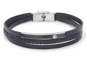 Stainless steel and leather bracelet with black Texture and gold screw (gr. 0.03)