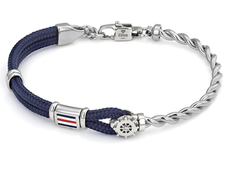 Stainless steel bracelet with blue nautical rope, wind rose and enameled flag