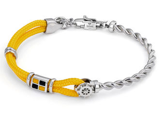 Stainless steel bracelet with yellow nautical rope, wind rose and enameled flag