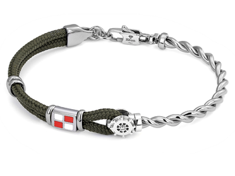 Stainless steel bracelet with military green nautical rope, rudder and enameled flag