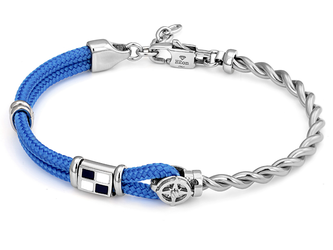 Stainless steel bracelet with light blue nautical rope, wind rose and enameled flag