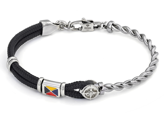 Stainless steel bracelet with black nautical rope, wind rose and enameled flag