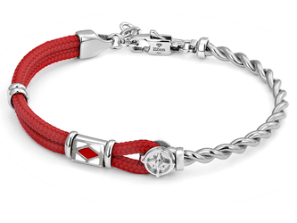 Stainless steel bracelet with red nautical rope, wind rose and enaled flag