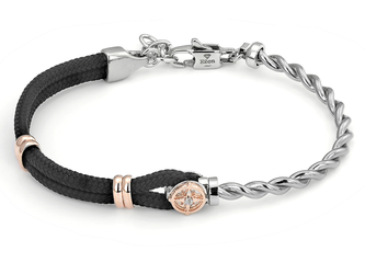 Stainless steel bracelet with black nautical rope and rosé wind rose