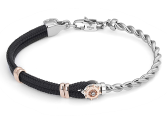 Stainless steel bracelet with black nautical rope and rosé rudder