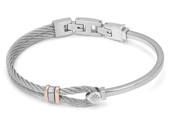Stainless steel bracelet and cable with rosé and wind rose links