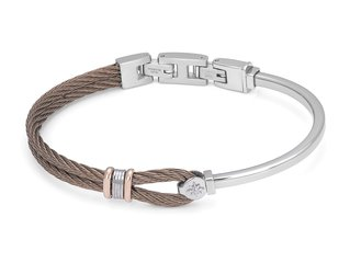 Stainless steel bracelet and brown PVD cable with rosé and wind rose links