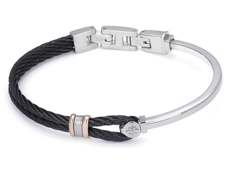 Stainless steel bracelet and black PVD cable with rosé and wind rose links