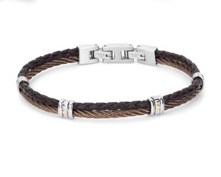 Stainless steel bracelet with brown PVD cable and leather with 18Kt gold screws (gr 0.04)