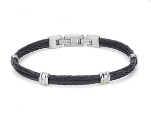 Stainless steel bracelet with black PVD cable and leather with 18Kt gold screws (gr 0.04)