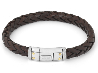Steel bracelet with brown leather braid and closing plate with 4 screws in 18 kt gold (gr 0.08)