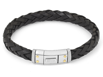 Steel bracelet with black leather braid and closing plate with 4 screws in 18 kt gold (gr 0.08)