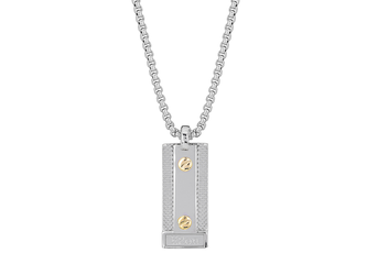 Necklace with steel pendant, semi-knurled plate and 2 screws in 18 kt gold (gr 0.06)