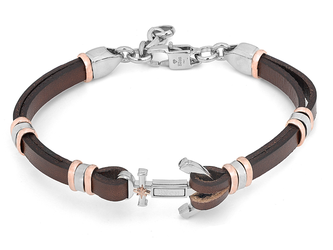 Steel and brown leather bracelet with central anchor and rosè polar star